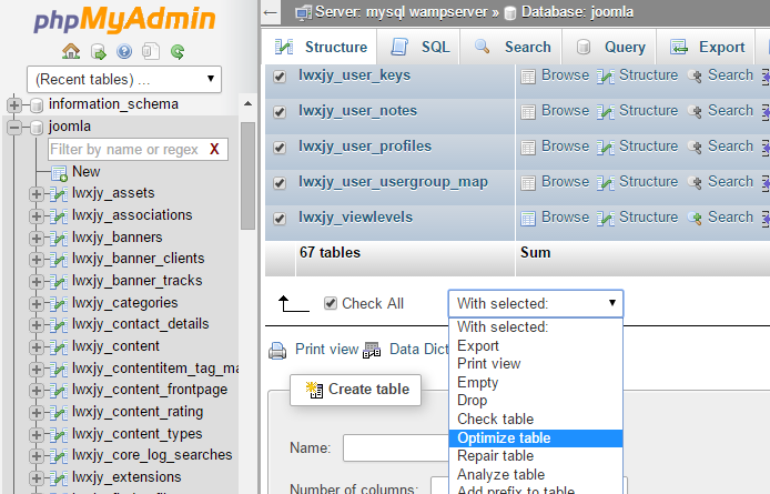 Оптимизация таблиц MySQL