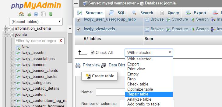 Восстановление таблиц MySQL